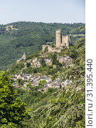 View of castle and medieval town of Najac (Aveyron Department, Occitanie Region, France) Стоковое фото, фотограф Bruno Almela / age Fotostock / Фотобанк Лори