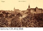 Schloss Hartenfels, Torgau, Churches in Torgau, 1901, Landkreis Nordsachsen, von Bastion I gesehen, Germany (2019 год). Редакционное фото, фотограф Liszt Collection / age Fotostock / Фотобанк Лори