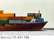 Купить «Red container ship. Logistics and production transfer», фото № 31431188, снято 12 августа 2017 г. (c) easy Fotostock / Фотобанк Лори