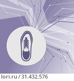 Купить «Low shoe icon on purple abstract modern background. The lines in all directions. With room for your advertising. illustration», фото № 31432576, снято 8 апреля 2018 г. (c) easy Fotostock / Фотобанк Лори