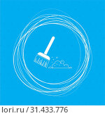 Купить «Broom icon on a blue background with abstract circles around and place for your text. illustration», фото № 31433776, снято 8 апреля 2018 г. (c) easy Fotostock / Фотобанк Лори
