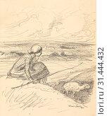 The Shepherdess, fourth quarter 19th century or first quarter 20th century. Théophile Alexandre Steinlen (Swiss, 1859-1923). Graphite, sheet: 37.5 x 27.4 cm (14 3/4 x 10 13/16 in.). (2019 год). Редакционное фото, фотограф Liszt Collection / age Fotostock / Фотобанк Лори