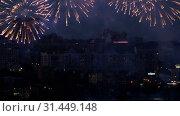 Купить «Beautiful firework at evening sky», видеоролик № 31449148, снято 6 июля 2019 г. (c) Игорь Жоров / Фотобанк Лори
