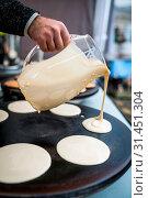 Купить «Men preparing delicious pancakes on the street food market in Bergen, Norway», фото № 31451304, снято 9 апреля 2020 г. (c) easy Fotostock / Фотобанк Лори