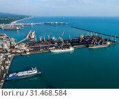 Купить «Туапсе, вид сверху на акваторию морского порта и Широкий мол», фото № 31468584, снято 6 июня 2019 г. (c) glokaya_kuzdra / Фотобанк Лори