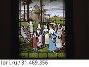 Vitrail du peintre-verrier Eugene Stanislas Oudinot de La Faverie(1827-1889), Villa 'La Guillette' ayant appartenu a l'ecrivain Guy de Maupassant, Etretat... Стоковое фото, фотограф Christian Goupi / age Fotostock / Фотобанк Лори