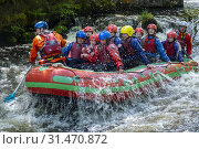 Купить «White water rafting at the National White Water Centre on the River Tryweryn, near Bala, Wales.», фото № 31470872, снято 8 декабря 2019 г. (c) age Fotostock / Фотобанк Лори