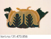 Fragment with Abstracted Leaves, 500s. Egypt, Byzantine period, 6th century. Tabby weave with inwoven tapestry ornament, linen and wool, overall: 22.3 x 10.2 cm (8 3/4 x 4 in.) (2019 год). Редакционное фото, фотограф Liszt Collection / age Fotostock / Фотобанк Лори