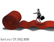 Купить «Businesswoman on the red carpet in success concept», фото № 31502808, снято 25 августа 2019 г. (c) Elnur / Фотобанк Лори