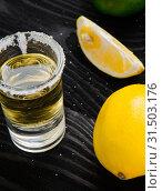 Купить «Tequila drink served in glasses with lime and salt», фото № 31503176, снято 18 сентября 2017 г. (c) Elnur / Фотобанк Лори