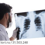 Young doctor looking at x-ray images isolated on white. Стоковое фото, фотограф Elnur / Фотобанк Лори