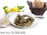 Купить «Dolmas in egg-lemon sauce (Greek cuisine)», фото № 31503932, снято 27 мая 2019 г. (c) Татьяна Ляпи / Фотобанк Лори