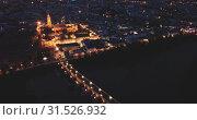 Купить «Night aerial view of Historic centre of Cordoba with antique Roman Bridge over Guadalquivir river and medieval Mosque–Cathedral, Spain», видеоролик № 31526932, снято 22 мая 2019 г. (c) Яков Филимонов / Фотобанк Лори
