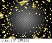 Falling Golden Confetti on transparent background. Стоковая иллюстрация, иллюстратор Анастасия Радионова / Фотобанк Лори