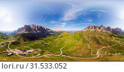 Aerial top 360 degree view to wonderful alpine landscape and meadows at Pass Gardena with majestic Sella mountain group in Dolomiti. Alps, South Tirol, Dolomites mountains, passo di Val Gardena, Italy. Стоковое фото, фотограф Алексей Ширманов / Фотобанк Лори