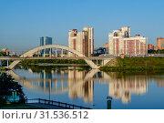 """Купить «Высокоскоростной поезд """"Сапсан"""" проходит по Химкинскому мосту», фото № 31536512, снято 9 июля 2019 г. (c) glokaya_kuzdra / Фотобанк Лори"""