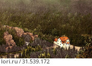 Buildings in Chomutov, Forests in Ústí nad Labem Region, Rocks in Ústí nad Labem Region, 1914, Ústí nad Labem Region, Komotau, Unterstandshaus, Czech Republic (2019 год). Редакционное фото, фотограф Copyright Liszt Collection / age Fotostock / Фотобанк Лори
