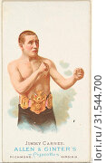Jimmy Carney, Pugilist, from World's Champions, Series 1 (N28) for Allen & Ginter Cigarettes, 1887, Commercial color lithograph, Sheet: 2 3/4 x 1 1/2 in... (2017 год). Редакционное фото, фотограф © Copyright Artokoloro Quint Lox Limited / age Fotostock / Фотобанк Лори