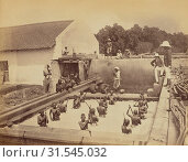 Купить «Beating a vat by hand, Oscar Mallitte (British, about 1829 - 1905, active Allahabad, India 1870s), Allahabad, India, 1877, Albumen silver print», фото № 31545032, снято 7 сентября 2018 г. (c) age Fotostock / Фотобанк Лори