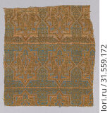 Купить «Textile Fragment from the Chasuble of San Valerius, 13th century, Attributed to Spain, Silk, gilt animal substrate around a silk core, taqueté, Textile...», фото № 31559172, снято 27 апреля 2017 г. (c) age Fotostock / Фотобанк Лори