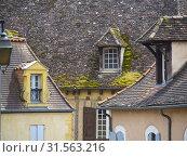 Купить «Dormer windows, Bergerac, Dordogne Department, Nouvelle Aquitaine, France.», фото № 31563216, снято 28 мая 2019 г. (c) age Fotostock / Фотобанк Лори