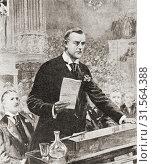 "The inaugural speech of Joseph Chamberlain in Glasgow, Scotland, 1903. Joseph Chamberlain, 1836 â. ""1914. British statesman who was first a radical Liberal... Стоковое фото, фотограф Hilary Jane Morgan / age Fotostock / Фотобанк Лори"