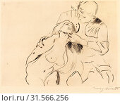 Lovis Corinth, The Reconciliation (Versöhnung), German, 1858 - 1925, 1914, drypoint in black on laid paper. Редакционное фото, фотограф copyright Quint Lox Limited / age Fotostock / Фотобанк Лори