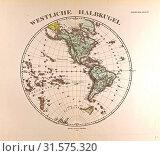Westen HemisphereGotha, Justus Perthes, 1872, Atlas. Perthes, Johan Georg Justus 1749 – 1816, German publisher, was born in Rudolstadt in 1749. In 1785... (2013 год). Редакционное фото, фотограф Artokoloro / age Fotostock / Фотобанк Лори