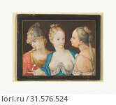 Heads of Goddesses (Pallas, Venus, Juno), ca. 1600, Watercolor and gouache, border in black wash, framing lines in pen and gold ink., Sheet: 5 11/16 x... (2017 год). Редакционное фото, фотограф © Copyright Artokoloro Quint Lox Limited / age Fotostock / Фотобанк Лори