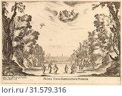 Stefano Della Bella (Italian, 1610 - 1664), Prima Scena Representanta Firenza, 1637, etching on laid paper [restrike] (2011 год). Редакционное фото, фотограф copyright Quint Lox Limited / age Fotostock / Фотобанк Лори