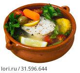 Купить «Fisherman soup with vegetables», фото № 31596644, снято 21 июля 2019 г. (c) Яков Филимонов / Фотобанк Лори