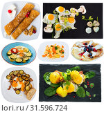 Купить «Collage of various breakfast foods on a white background», фото № 31596724, снято 23 июля 2019 г. (c) Яков Филимонов / Фотобанк Лори