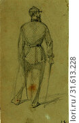 Купить «Single figure in uniform, seen from the rear, between 1860 and 1865, drawing on olive paper pencil, 10.5 x 5.6 cm. (sheet), 1862-1865, by Alfred R Waud...», фото № 31613228, снято 7 августа 2014 г. (c) age Fotostock / Фотобанк Лори
