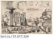 View of the Roman Forum, looking toward the Palatine Hill, from the series 'The Small book of Roman ruins and buildings' (Operum antiquorum romanorum)... (2017 год). Редакционное фото, фотограф © Copyright Artokoloro Quint Lox Limited / age Fotostock / Фотобанк Лори