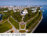 Купить «Panoramic aerial view of district of Yaroslavl at quay of Volga river», фото № 31623088, снято 10 мая 2019 г. (c) Яков Филимонов / Фотобанк Лори