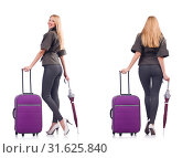 Купить «Young beautiful woman with suitcase and umbrella isolated on whi», фото № 31625840, снято 22 августа 2019 г. (c) Elnur / Фотобанк Лори