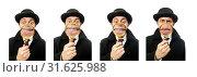 Купить «Sherlock Holmes with magnifying glass isolated on white», фото № 31625988, снято 6 февраля 2015 г. (c) Elnur / Фотобанк Лори