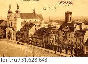 Market squares in the Czech Republic, Churches in Chomutov, Buildings in Chomutov, 1912, Ústí nad Labem Region, Komotau, Markt (2019 год). Редакционное фото, фотограф Copyright Liszt Collection / age Fotostock / Фотобанк Лори
