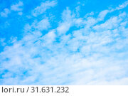 Купить «Pale blue sky with clouds - abstract background, space for text», фото № 31631232, снято 20 ноября 2019 г. (c) easy Fotostock / Фотобанк Лори