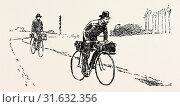 Купить «SUSPICIOUS CHARACTERS ON THE FRANCO-GERMAN FRONTIER, bicycle, bicycles, 1888 engraving», фото № 31632356, снято 13 апреля 2012 г. (c) age Fotostock / Фотобанк Лори