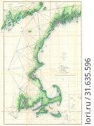 1859, U.S. Coast Survey Map of the New England Coa (2017 год). Редакционное фото, фотограф © Artokoloro Quint Lox Limited / age Fotostock / Фотобанк Лори