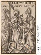 The Three Christian Heroines (Drei Gut Kristin), from Heroes and Heroines, 1516, Woodcut, first state of three (Hollstein), Sheet: 8 1/8 × 5 3/16 in.... (2017 год). Редакционное фото, фотограф © Copyright Artokoloro Quint Lox Limited / age Fotostock / Фотобанк Лори