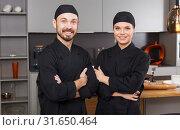 Купить «Two confident chefs», фото № 31650464, снято 24 мая 2018 г. (c) Яков Филимонов / Фотобанк Лори