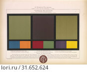 Купить «Complimentary colors blue and orange, red and green, purple and yellow, L'harmonie des couleurs, Guichard, Édouard, b. 1815, Chromolithograph, 1880, Plate numbered 35 in upper right corner.», фото № 31652624, снято 7 сентября 2018 г. (c) age Fotostock / Фотобанк Лори