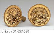 Купить «Pair of Earflares with Multifigure Scenes, 12th–15th century, Peru, Chimú, Gold, Diam. 5 1/4 in. (13.5 cm), Metal-Ornaments, By the time the powerful...», фото № 31657580, снято 22 апреля 2017 г. (c) age Fotostock / Фотобанк Лори