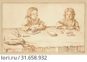 Portraits of Serafino and Francesco Falzacappa, Pier Leone Ghezzi, Italian, 1674 - 1755, about 1720, Black chalk, pen and brown ink, 16.2 x 26.7 cm (6 3/8 x 10 1/2 in.) (2013 год). Редакционное фото, фотограф Artokoloro / age Fotostock / Фотобанк Лори