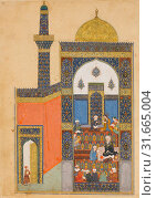 'Laila and Majnun at School', Folio from a Khamsa (Quintet) of Nizami, A.H. 835/ A.D. 1431–32, Made in present-day Afghanistan, Herat, Ink, opaque watercolor... (2017 год). Редакционное фото, фотограф © Copyright Artokoloro Quint Lox Limited / age Fotostock / Фотобанк Лори