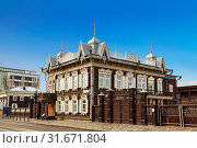 Купить «House of Europe or Lace house on the street Friedrich Engels, 21. The wooden house of merchant Shastin, monument of architecture. Irkutsk, Russia», фото № 31671804, снято 13 марта 2019 г. (c) Наталья Волкова / Фотобанк Лори
