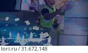 Купить «Warehouse Composition Man packing boxes into a van combined with illustration of flying l», видеоролик № 31672148, снято 30 сентября 2018 г. (c) Wavebreak Media / Фотобанк Лори