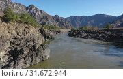 Купить «Lowflying on a drone over Teldykpen rapids on Altai river Katun near Oroktoi bridge», видеоролик № 31672944, снято 1 июля 2019 г. (c) Serg Zastavkin / Фотобанк Лори